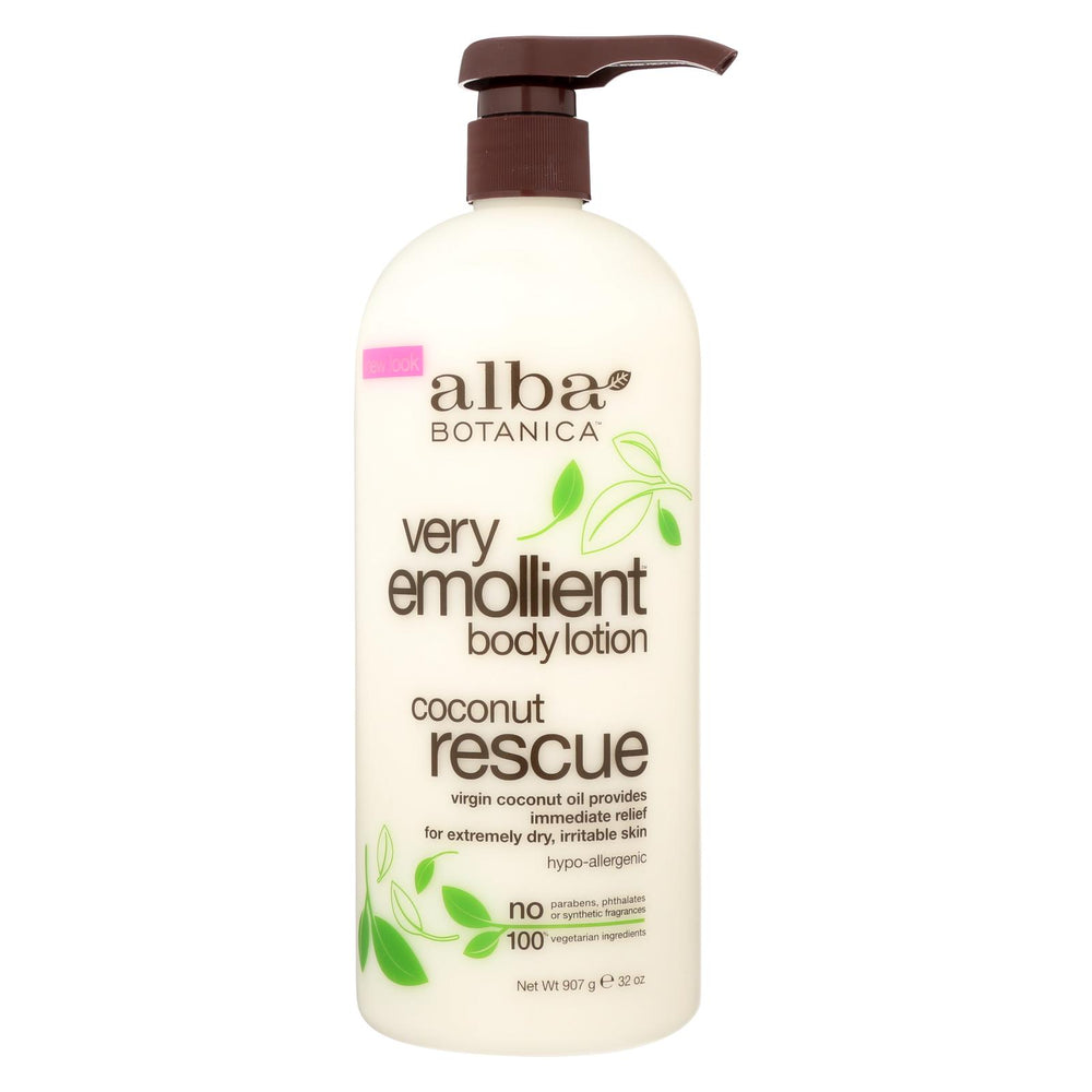 Alba Botanica - Body Lotion - Very Emollient - Coconut Rescue - 32 Oz