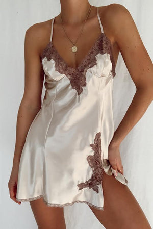 Silky Ivory & Lace Open Back Mini Slip