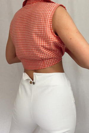 70's Plaid Cropped Top