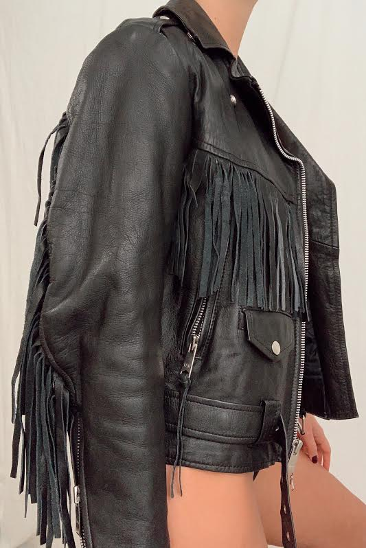 Vintage Fringe Leather Jacket (S)