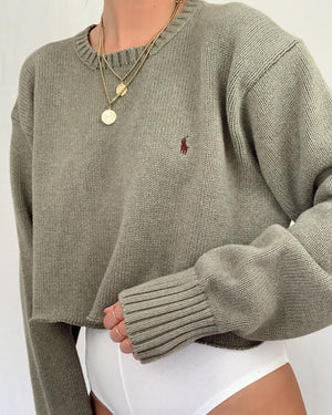 Cropped Olive Green Polo Knit