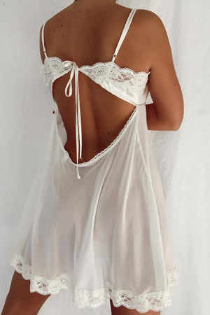 Silky Vanilla & Lace Open Back Mini Slip