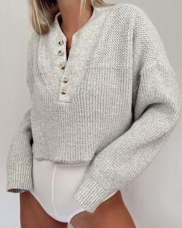 Cropped Henley Knit