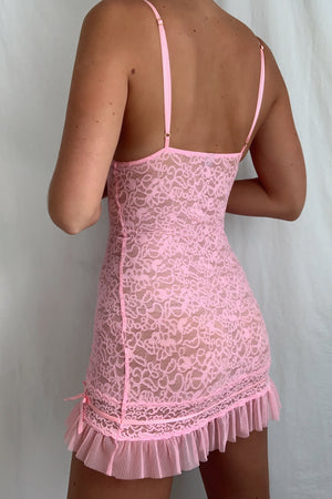Vintage Lace Embroidered Ruffle Babydoll (S)