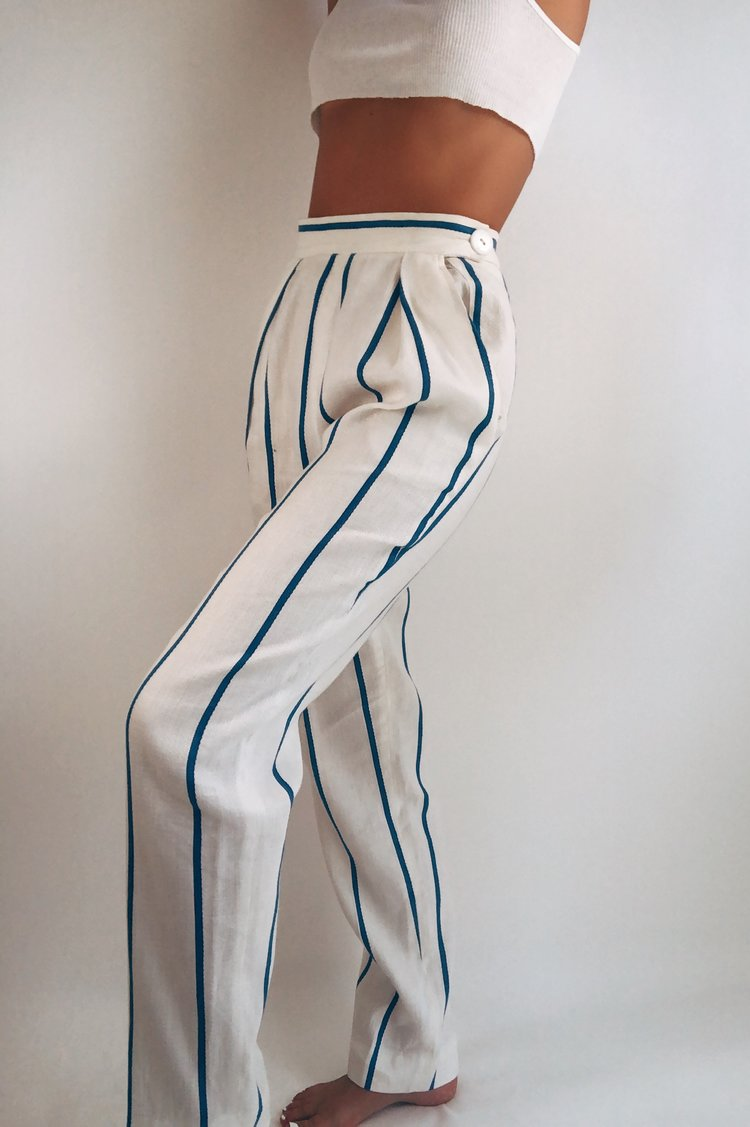 Vintage Striped Linen/Cotton Blend Hi Rise Pleated Pants (S/25)