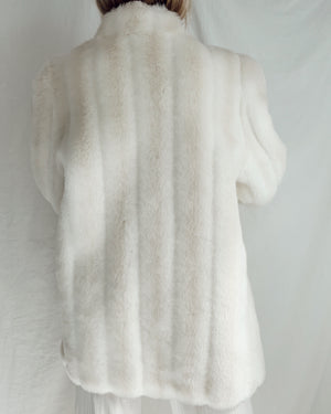Vintage Faux Fur White Coat (S-L)