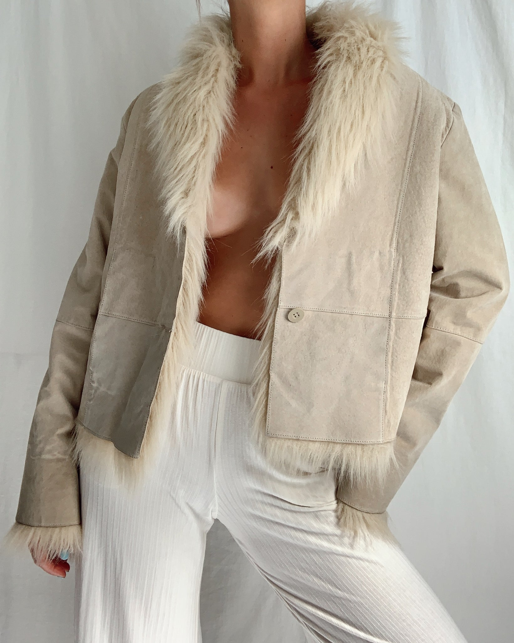 Vintage Faux Fur Leather Jacket (S)