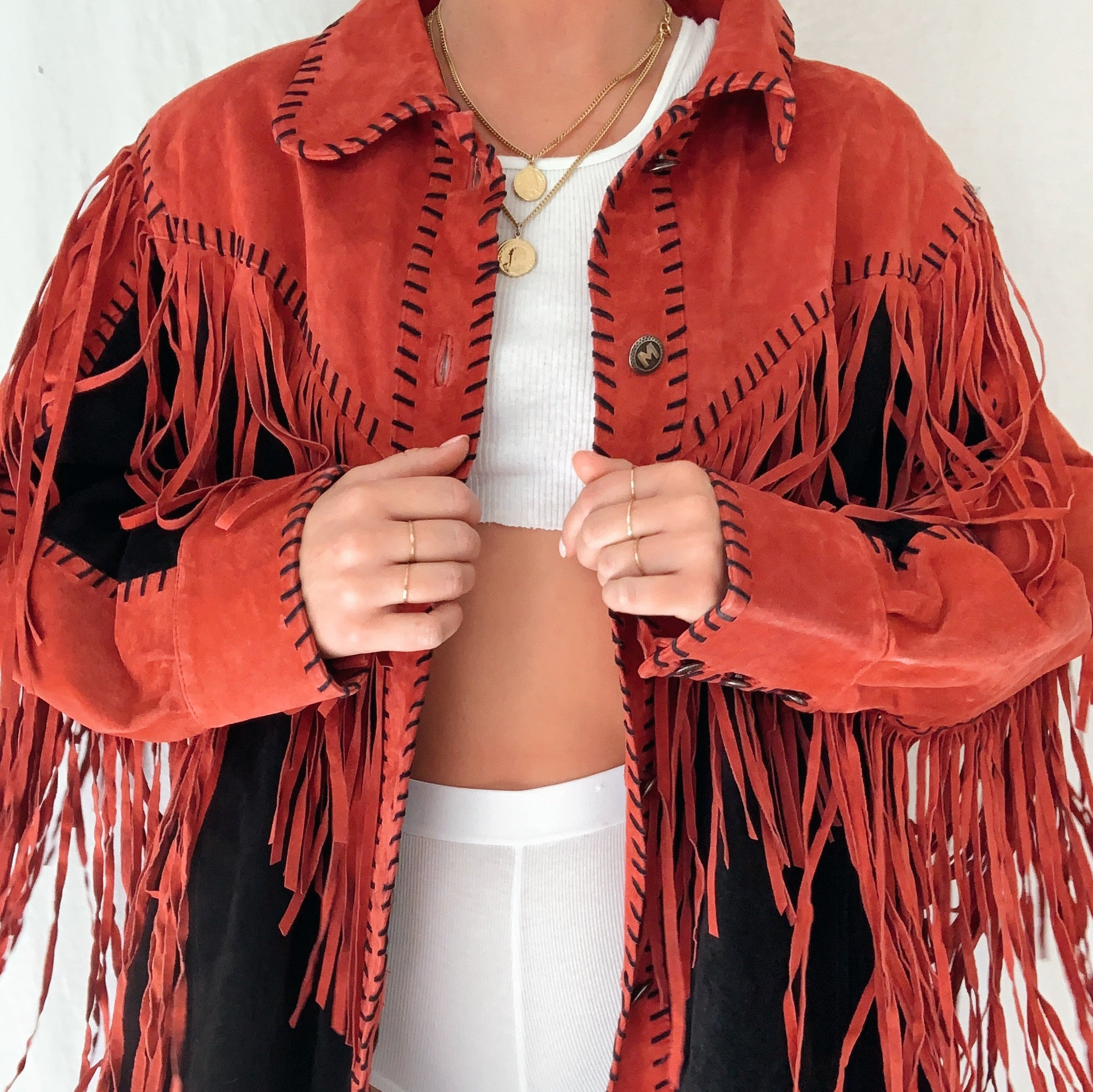 Leather Fringe Button Up