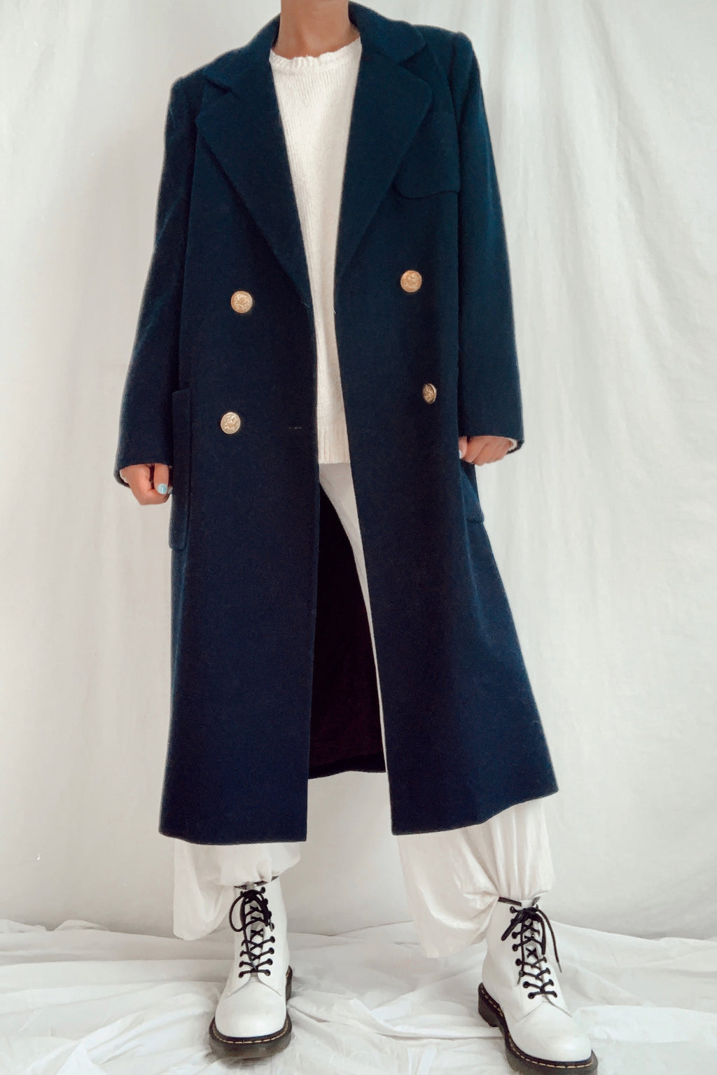 Vintage Navy Wool Duster (S-M)