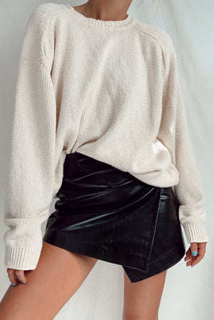 Vintage Leather Mini Wrap Skirt (S)