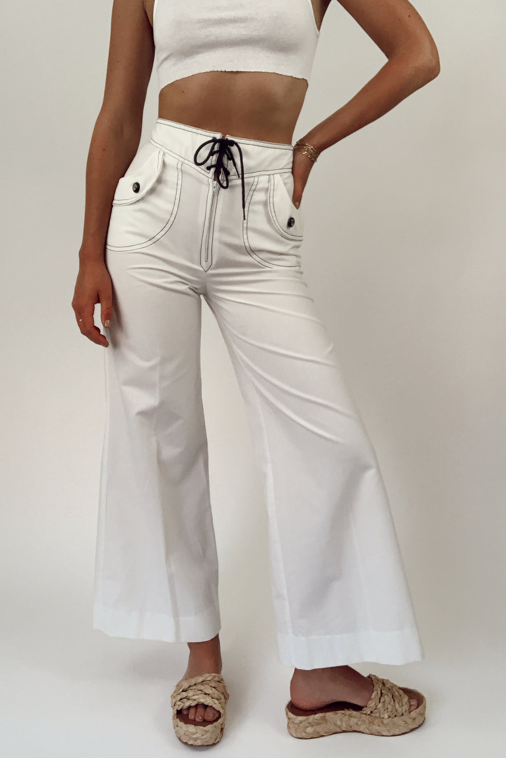 80's Nautical Flare Trousers (24/25)
