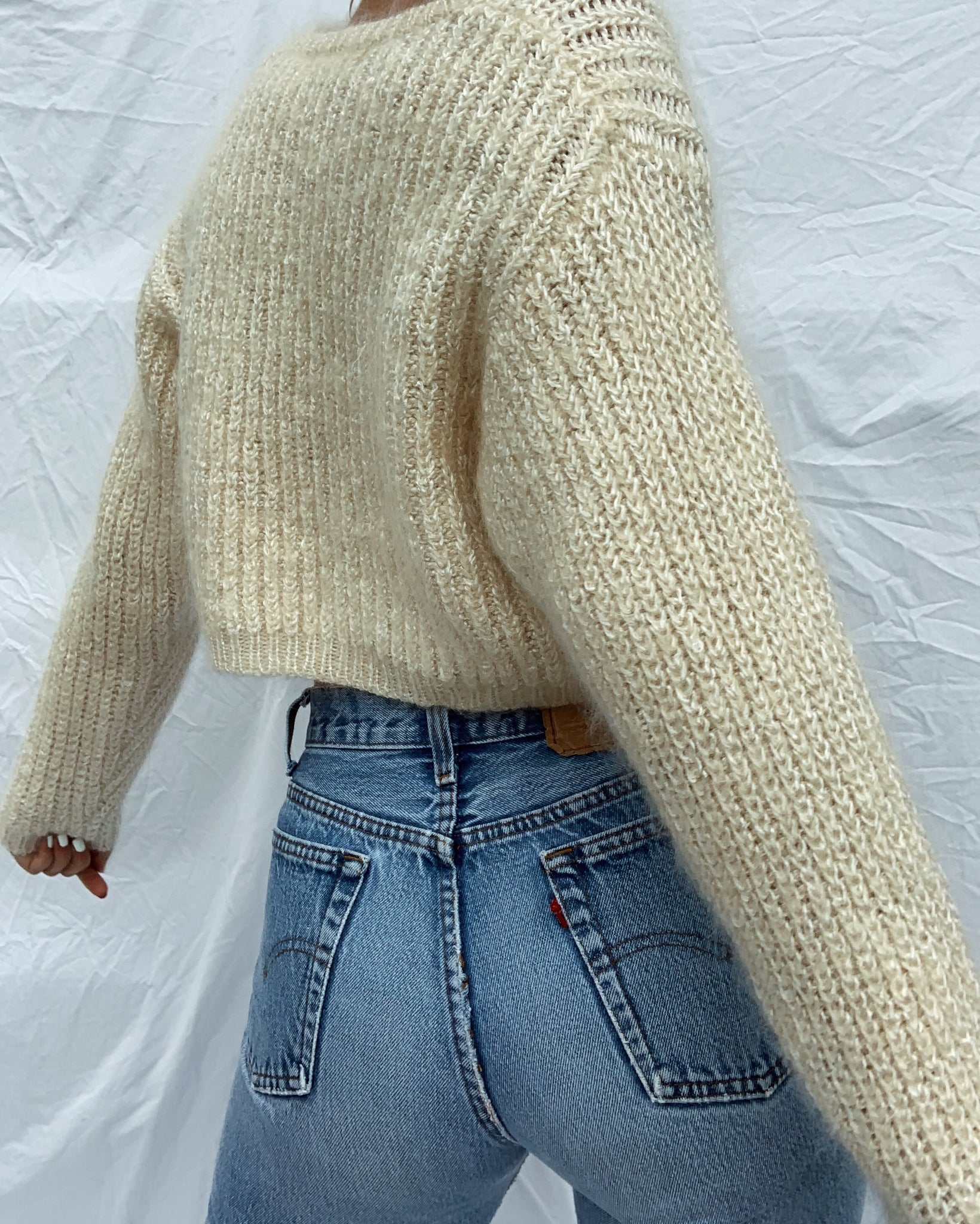 Cream Mohair Blend Cropped Sweater (S)