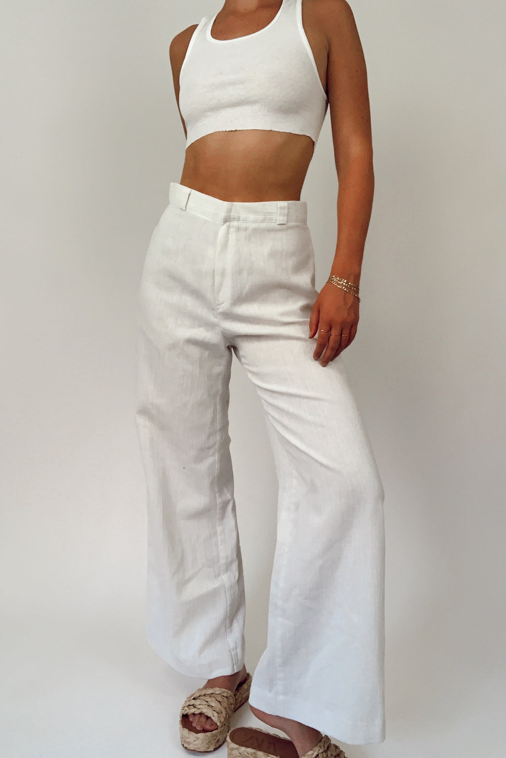 White 70's Bell Bottoms (26/27)