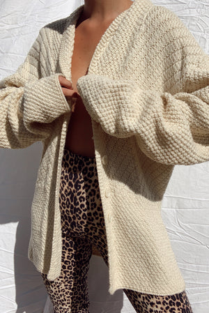 Cozy Hand Knit Wool Cardigan (One Size)