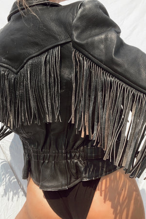 Fringe Leather Jacket (S)