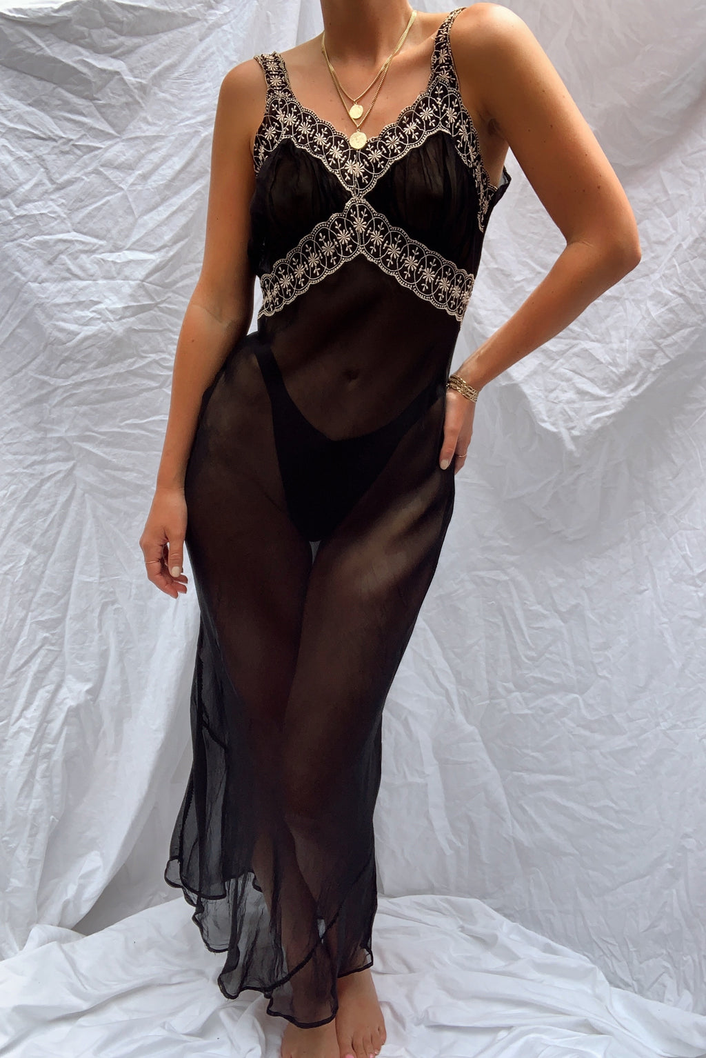 Stunning Sheer Slip w Lace Detail (S)