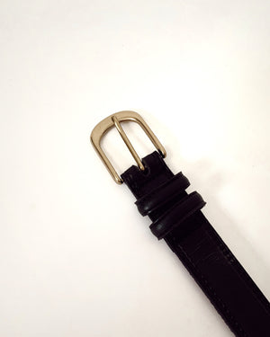 Black Leather & Gold Metal Belt (S-L)