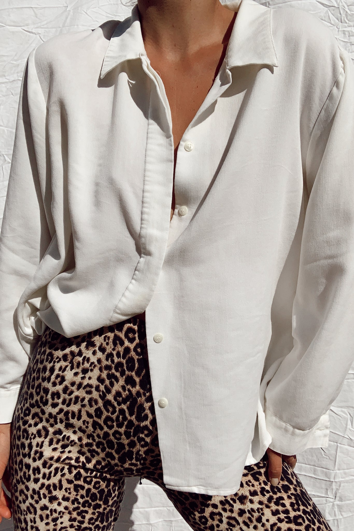Gorgeous Silky White Button Up (S-M)