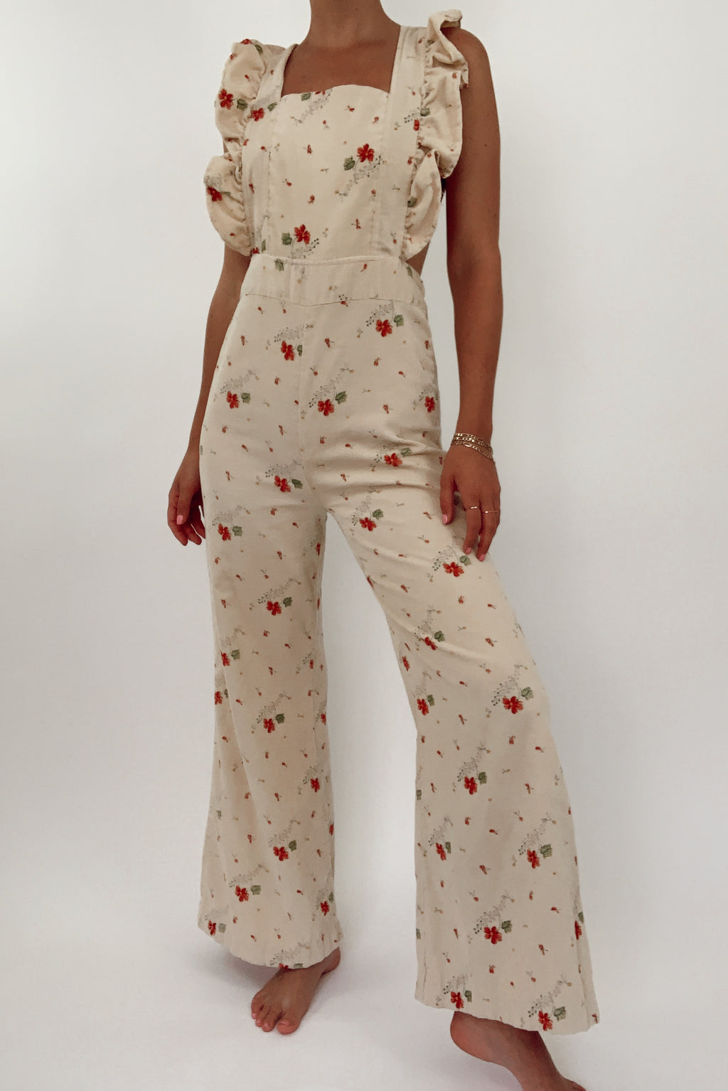 Favorite 70's Floral Cord Overalls (S-M)
