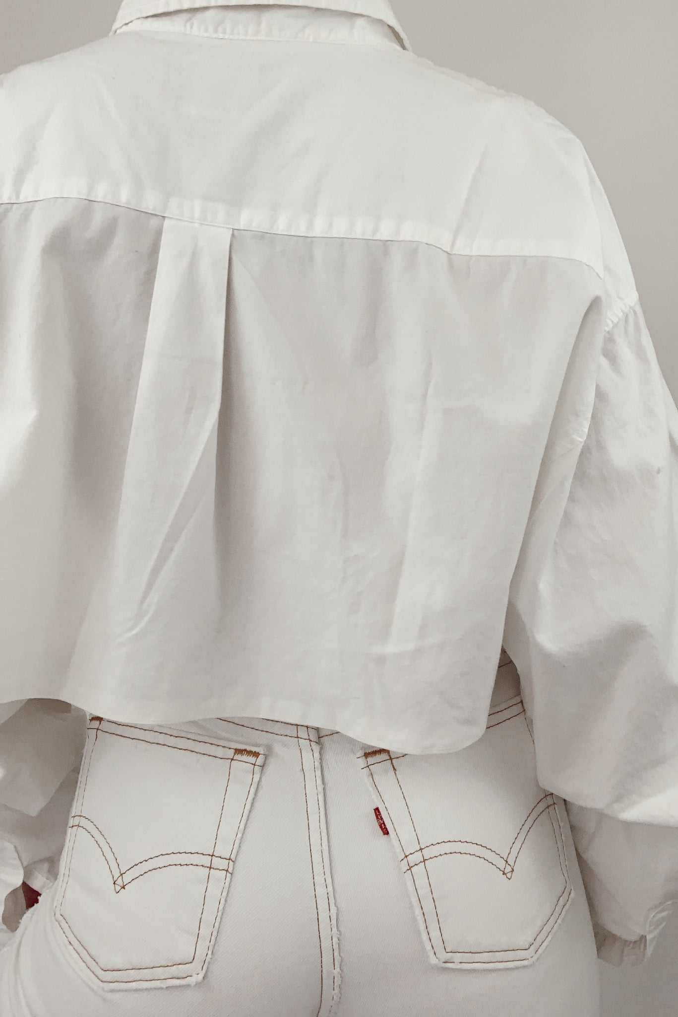 Reworked White Cropped Button Up