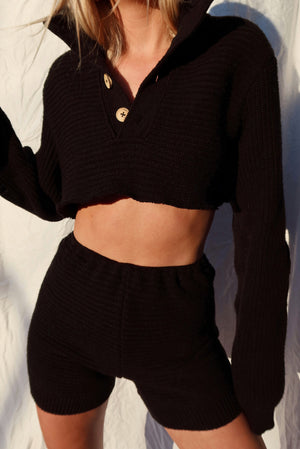black henley sweater set (S)