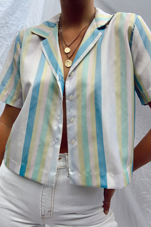1950's Silky Pastel Striped Button Up (S)