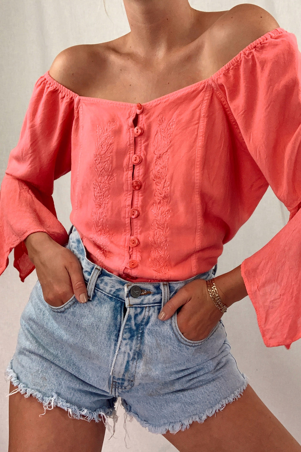 70's Off The Shoulder Top (One Size Fits All)