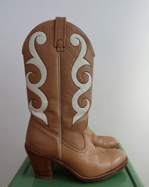 Caramel Leather Cowboy Boots (7.5)