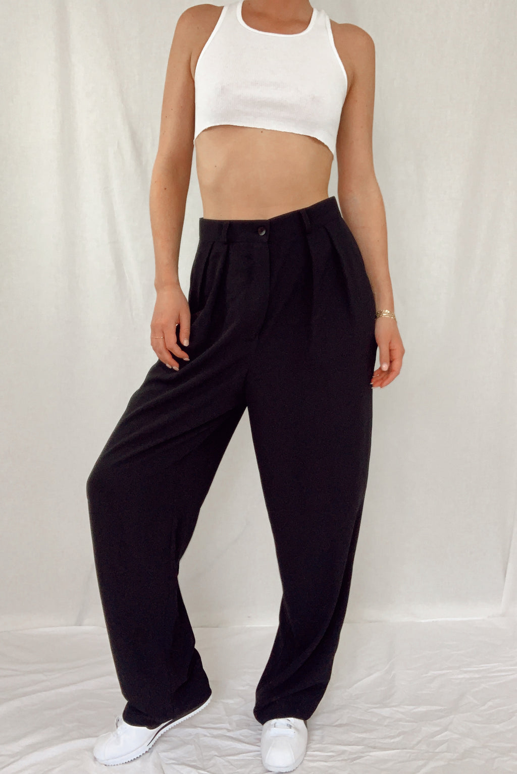 Hi Rise Black Pleated Pants