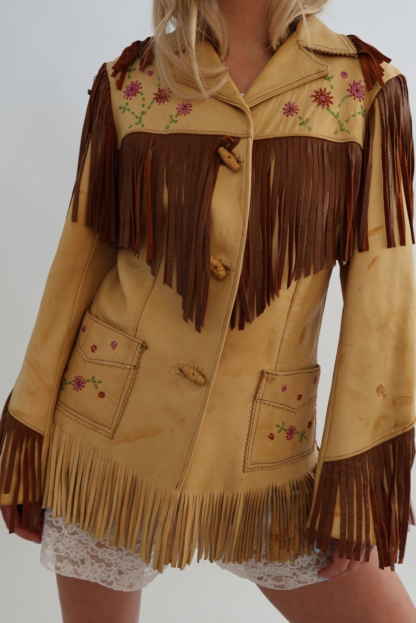 Handmade 70's Fringe Leather Jacket (S-M)
