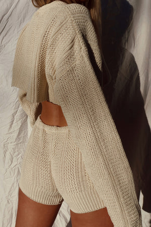cream knit sweater set (S)