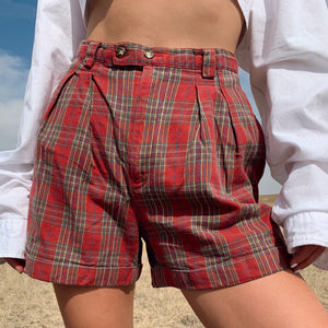 Cotton Plaid Pleated Shorts (25)