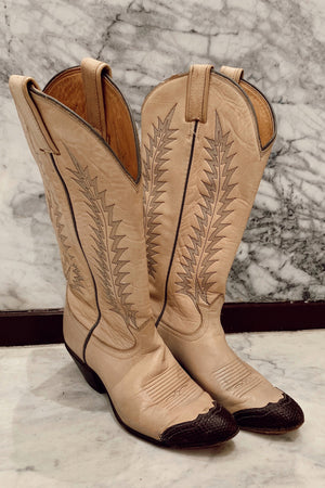 Vintage Cream & Brown Cowboy Boots (6.5)