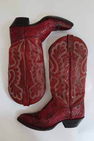 Red Snakeskin Cowboy Boots (6 1/2)