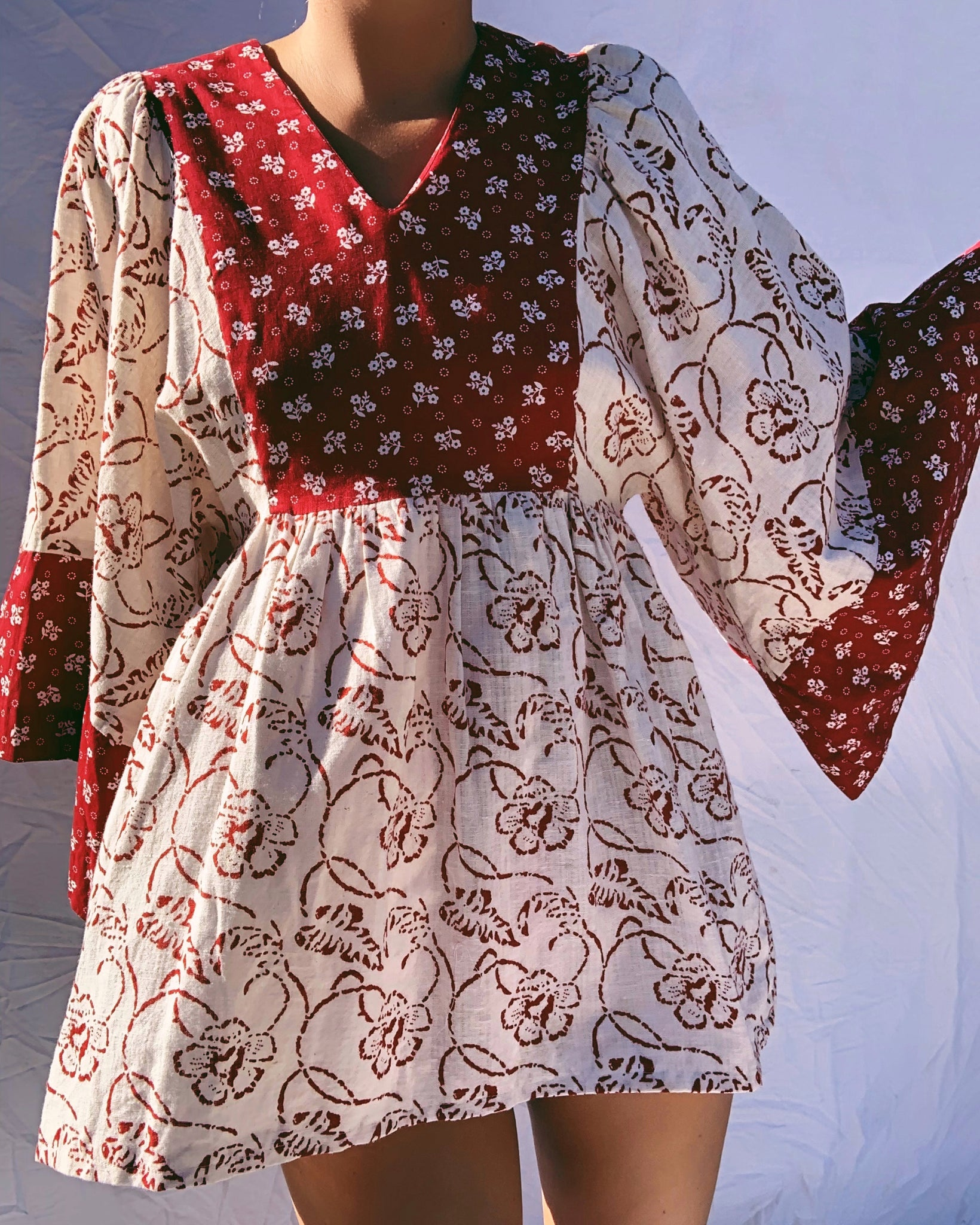 Reconstructed 70's Kaftan Mini Dress (S)