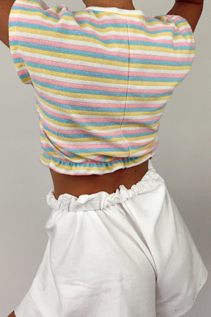 Cotton Candy Striped Crop Top (S)