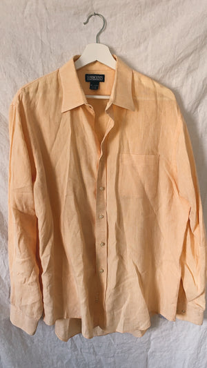 Tangerine Linen Button Up (S-L)