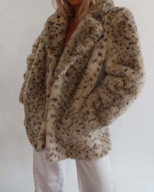 Faux Fur Leopard Coat (S-M)