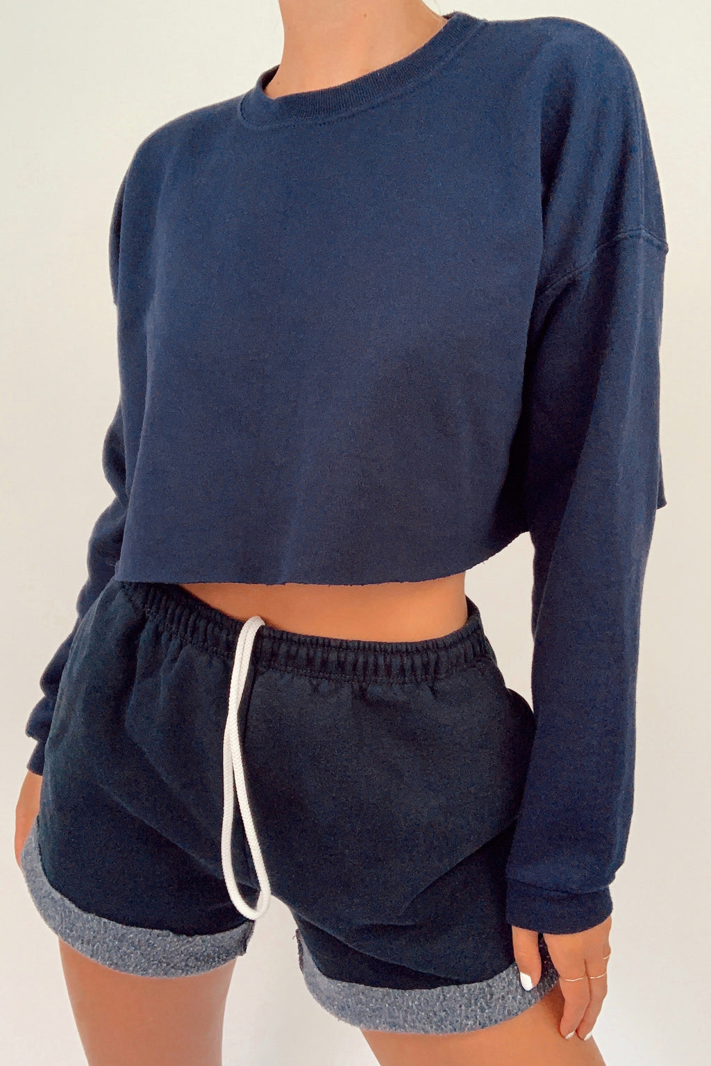 Cropped Navy Crew Neck (S)