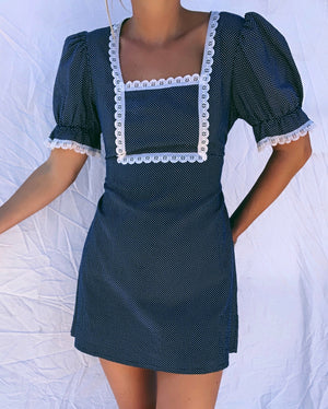 Reworked 70's Puff Sleeve Mini Dress (S)