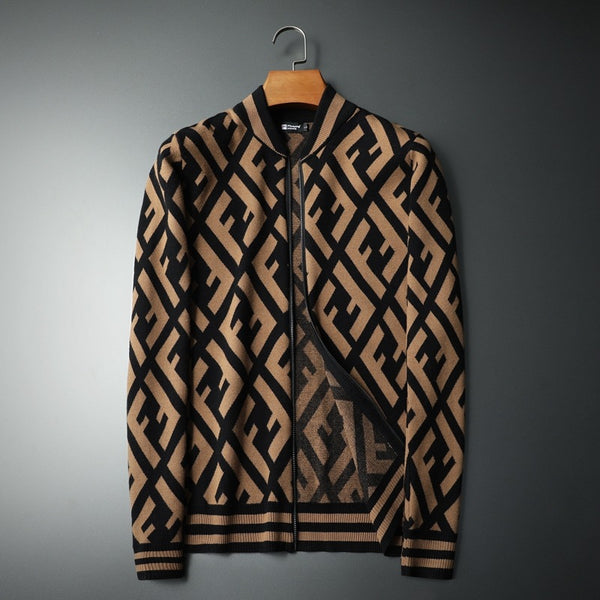 Trendy Handsome Thickened Contrast Color Sweater With Zipper