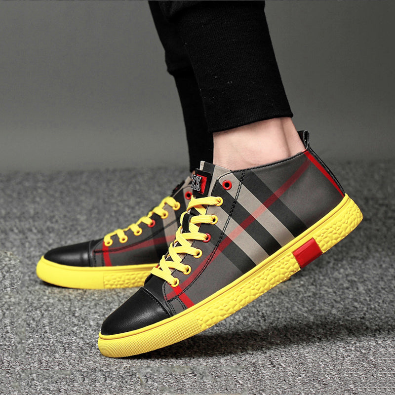 Gride Printed Cowhide Lace Up Men's Sneakers