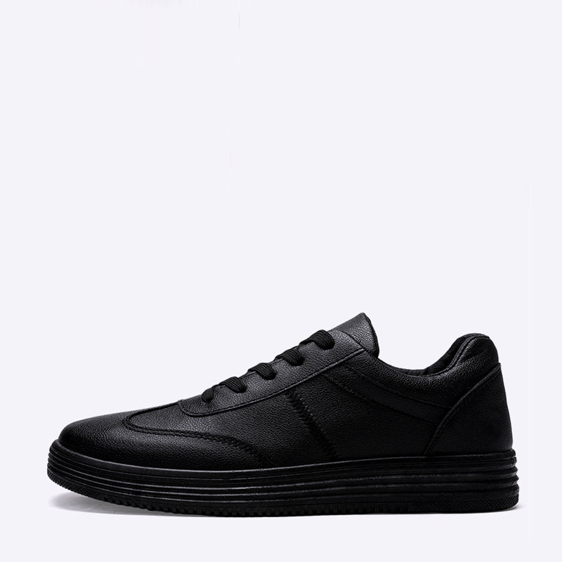 Black Microfiber Lace Up Men's Sneakers