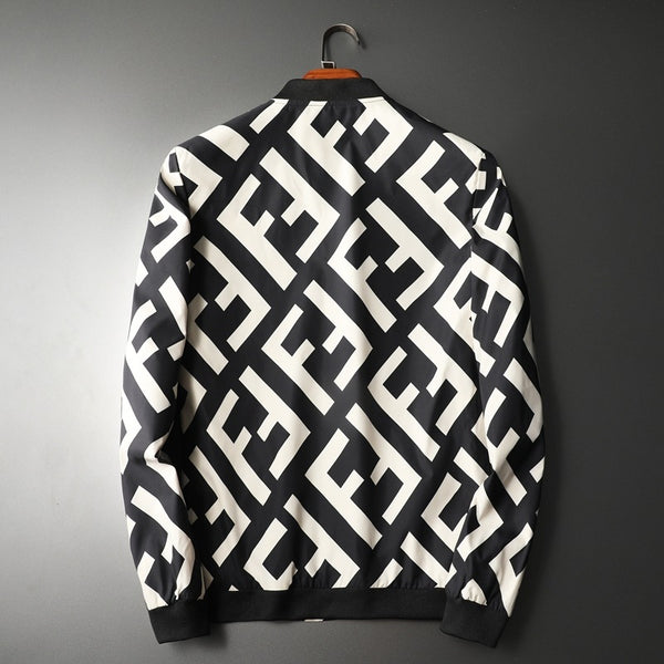 Fashion Letter Printed Contrast Color Sweater With Zipper