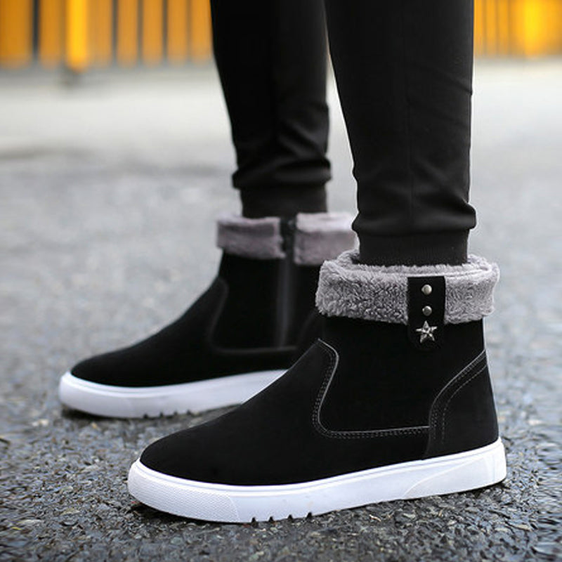 Suede Slip-On Plus Velvet Men's Boots