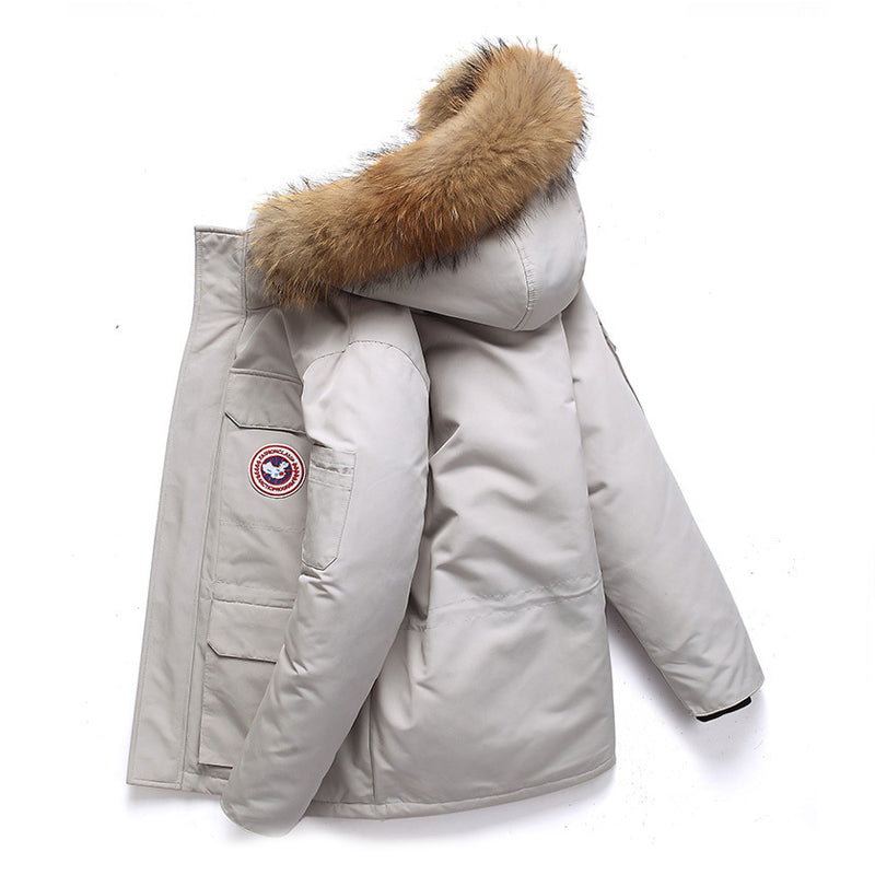 Winter Down Jacket Real Fur Collar Hooded Thick Overcoat