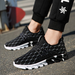 Knitted Fabric Lace Up Men's Sneakers