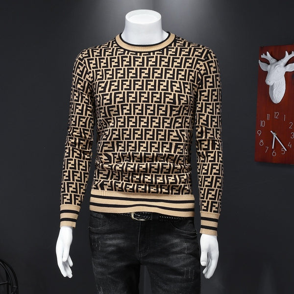 New Brand Round Neck Letter Printed Men's Casual Sweater