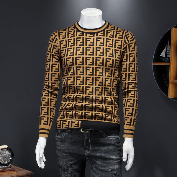 2020 Trendy Letter Printed Men's knitted Casual Sweater