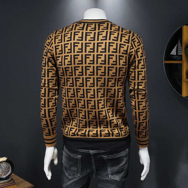 Fashion Men's Round Neck Letter Printed Casual Sweater